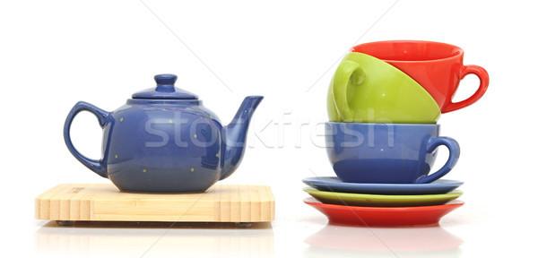 Tea set, isolated on white Stock photo © inxti