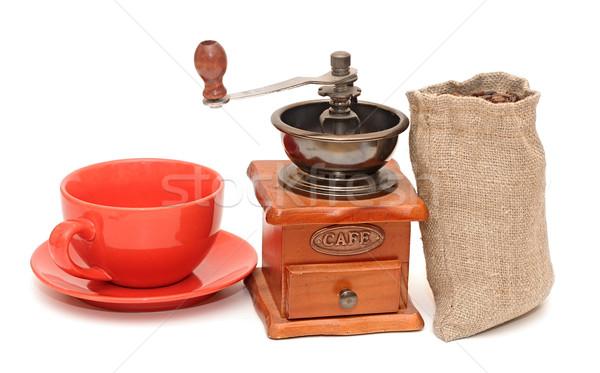 Piros csésze kávé öreg kávé malom Stock fotó © inxti