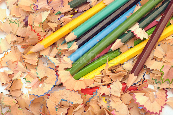 heap of color pencil shaves. Back to school concept. Stock photo © inxti