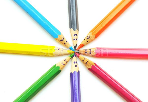Foto d'archivio: Felice · gruppo · matita · facce · social · network · isolato