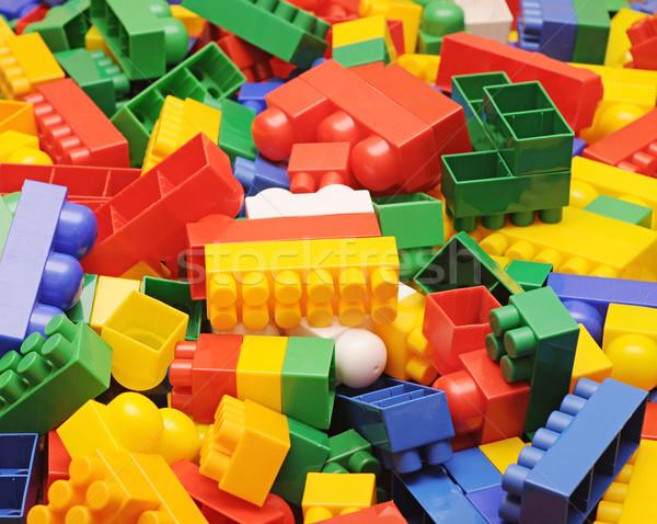 Köteg műanyag építőkockák szett szín tömbházak Stock fotó © inxti