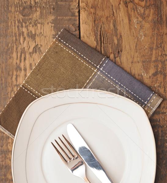 пусто блюдо белый пластина коричневый Сток-фото © inxti