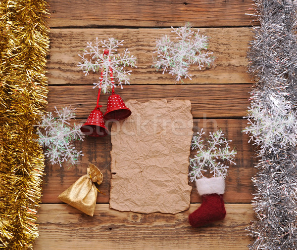 Christmas decoration and vintage paper on the wood background Stock photo © inxti