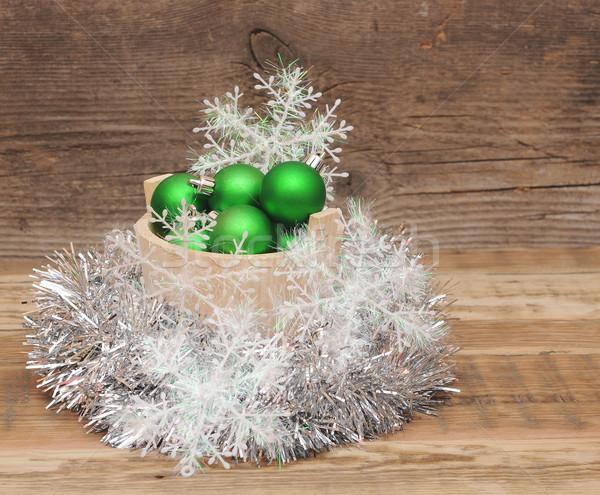 Photo stock: Noël · décorations · bois · verre · fond · boîte