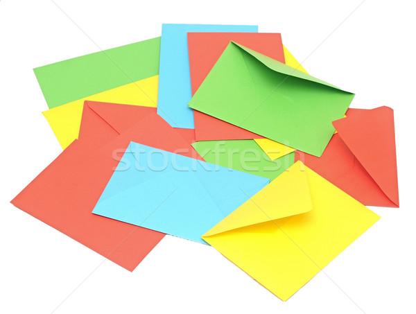 Foto stock: Colorido · comunicação · fundo · verde · azul · e-mail