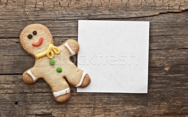 Maison Noël peint gingerbread man rouge bois Photo stock © inxti