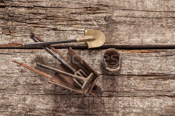 Сток-фото: натюрморт · ржавые · лопатой · древесины · работу