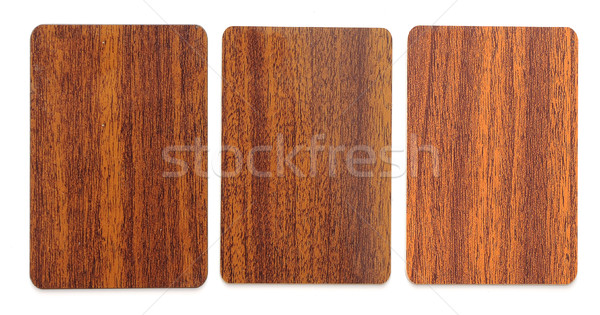 collection of wooden plastic card blanks on white background Stock photo © inxti