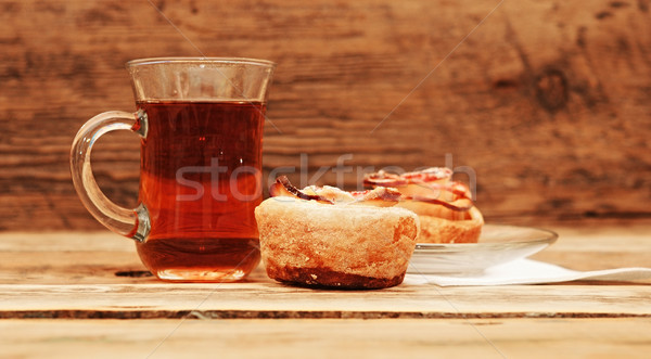 Apple cakes with cup of tea like flower Stock photo © inxti