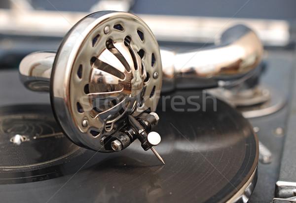 Stockfoto: Vintage · grammofoon · vinyl · muziek · hout · ontwerp