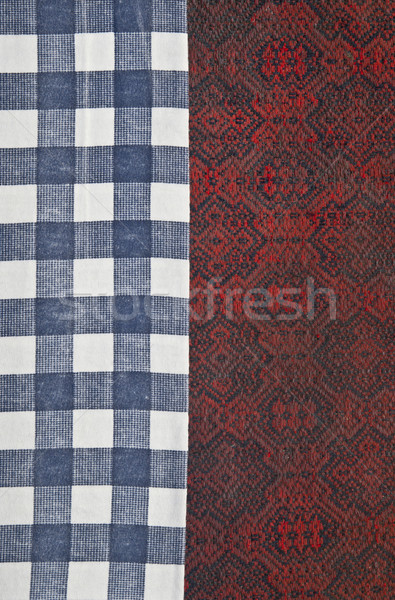blue and white checked napkin bordered with old dirty fabric Stock photo © inxti