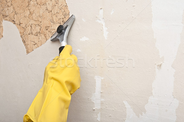 Hand removing wallpaper from wall  Stock photo © inxti