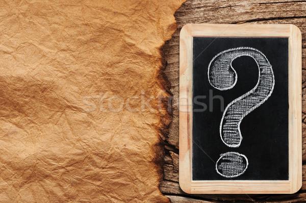 Vraagtekens witte krijttekening klein Blackboard achtergrond Stockfoto © inxti