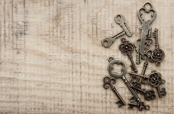 antique keys on vintage background Stock photo © inxti
