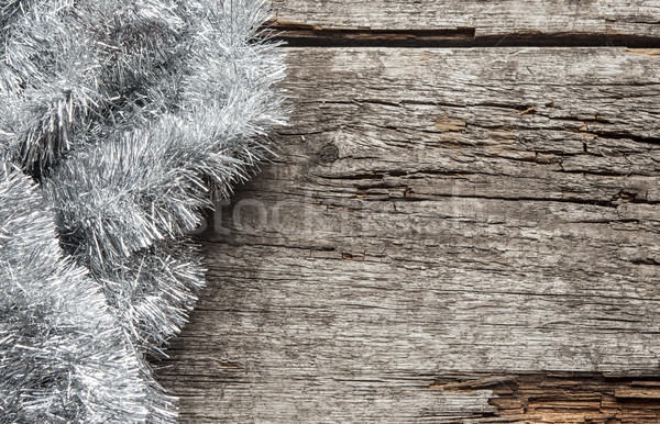 Christmas tinsel decorations on the wood Stock photo © inxti