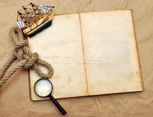Statków dziennika pusty starej książki model klasyczny Zdjęcia stock © inxti