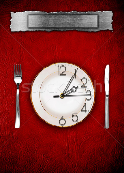 Menu. Dishware and clock. Concept restrictions in food Stock photo © inxti