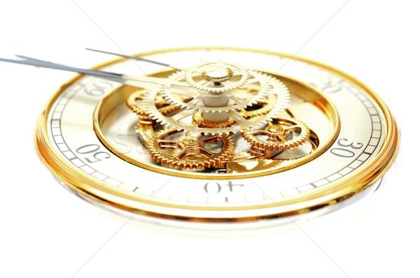 Stock fotó: Arany · óra · sebességváltó · fehér · technológia · háttér
