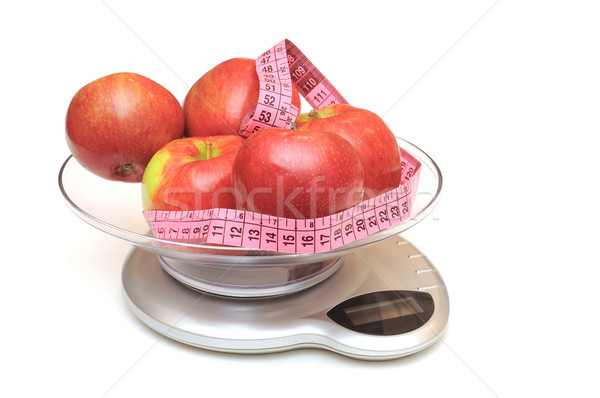 Kitchen scale, apples and measuring tape  Stock photo © inxti