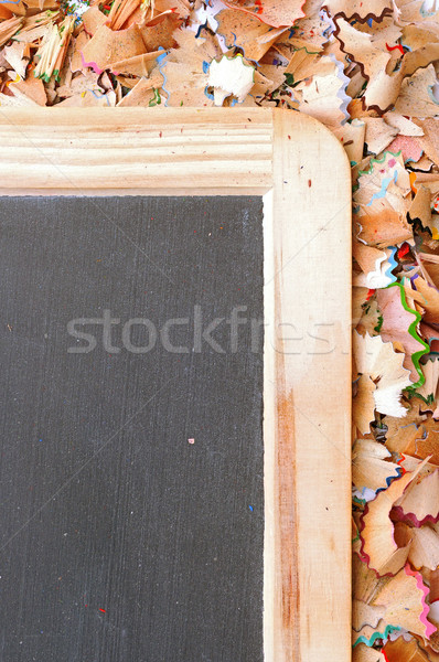 part of school boards bordered with shavings from pencils Stock photo © inxti