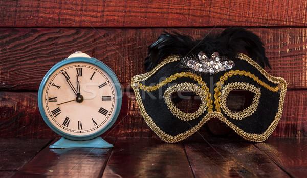 Carnaval máscara despertador nuevos año reloj Foto stock © inxti