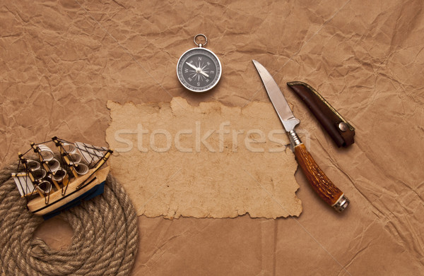 adventure decoration with compass on old paper  Stock photo © inxti