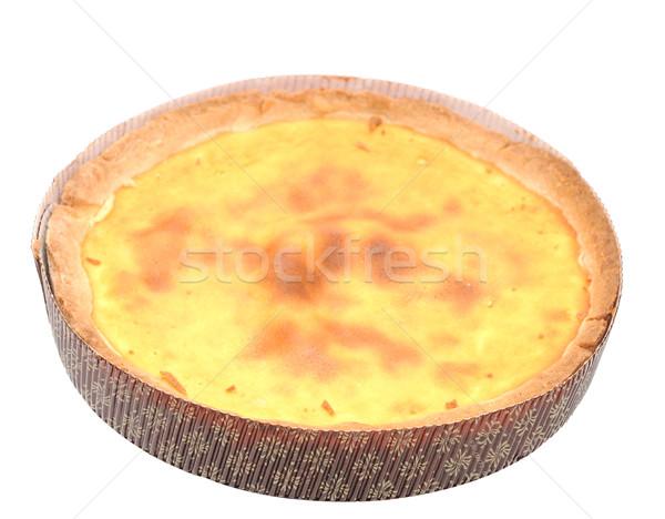 Foto stock: Bolo · de · queijo · isolado · branco · comida · bolo · sorvete