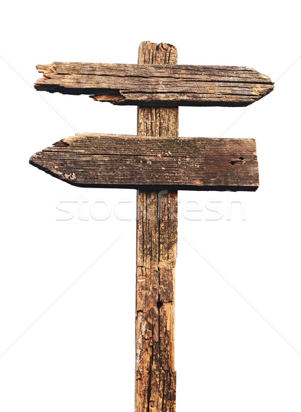 Old wood sign isolated on white  Stock photo © inxti