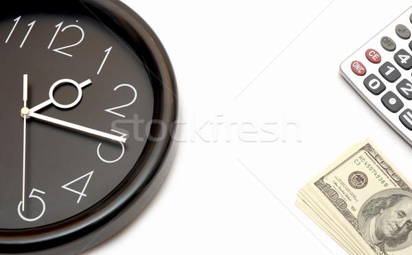 Fal óra dollár az idő pénz üzlet kezek Stock fotó © inxti