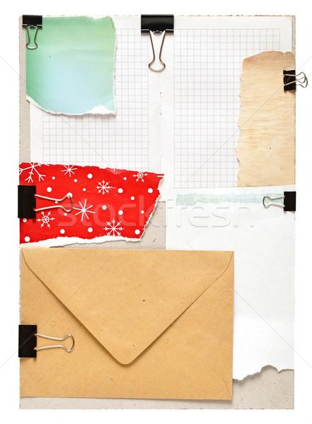 Klasszikus jegyzetek szürke karton papír piros Stock fotó © inxti