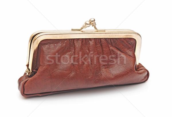 коричневый кожа кошелька белый аннотация торговых Сток-фото © inxti