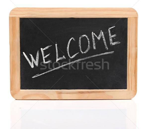 Mot Bienvenue blanche craie écriture faible Photo stock © inxti