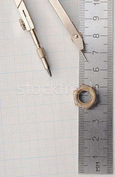 Сток-фото: геометрия · набор · компас · правителя · графа · бумаги