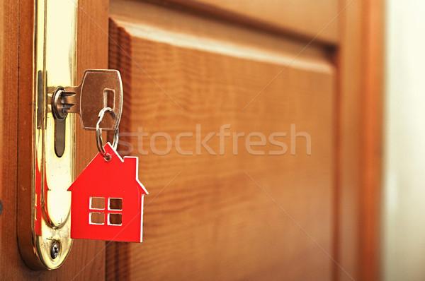 Kluczowych blokady domu ikona rodziny domu Zdjęcia stock © inxti