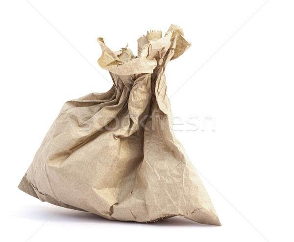 Riciclare carta marrone bag copia spazio bianco legno Foto d'archivio © inxti