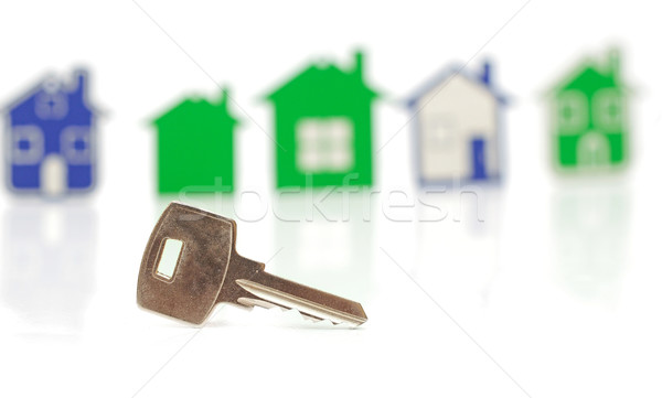 silver key on the houses background  Stock photo © inxti