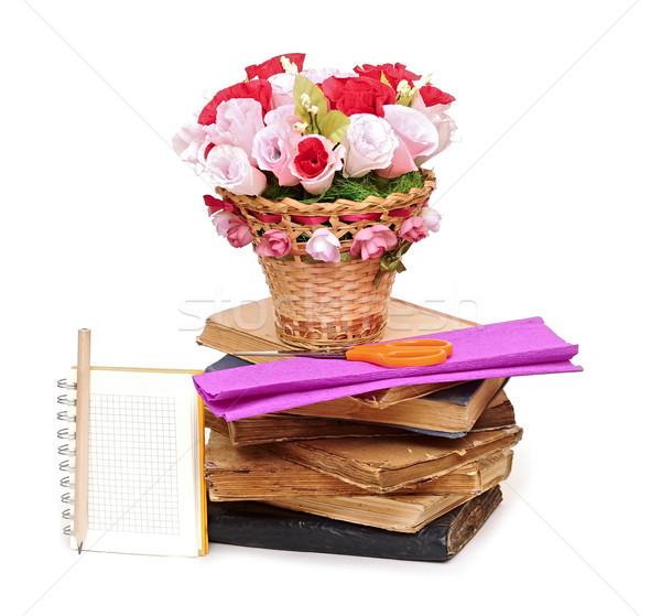 Papel flor cesta nota libro textura Foto stock © inxti