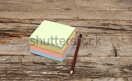 Matrica levélpapír fából készült háttér narancs űr Stock fotó © inxti
