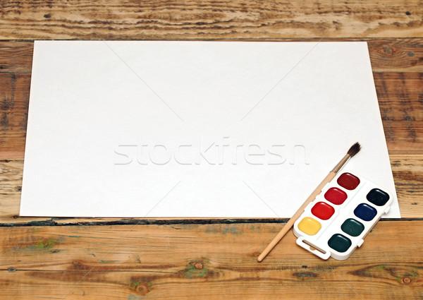 Ayarlamak kullanılmış boya kâğıt ahşap arka plan Stok fotoğraf © inxti