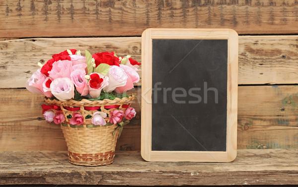Boeket papier bloem mand bloemen voorjaar Stockfoto © inxti