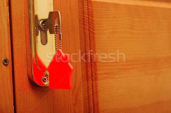 Сток-фото: символ · дома · Stick · ключевые · замочную · скважину · семьи