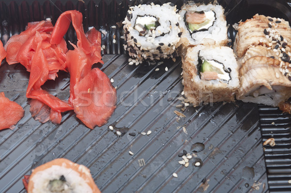 Traditional Japanese food Sushi. Sushi collection in plastic box Stock photo © inxti
