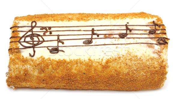 Iştah açıcı kek çizim krem müzik Stok fotoğraf © inxti