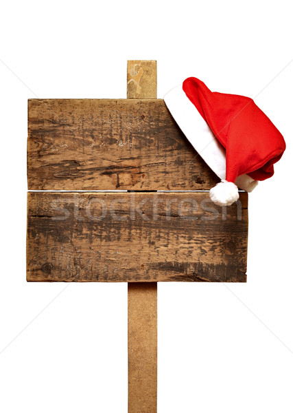 road sign with Santa's hat  Stock photo © inxti