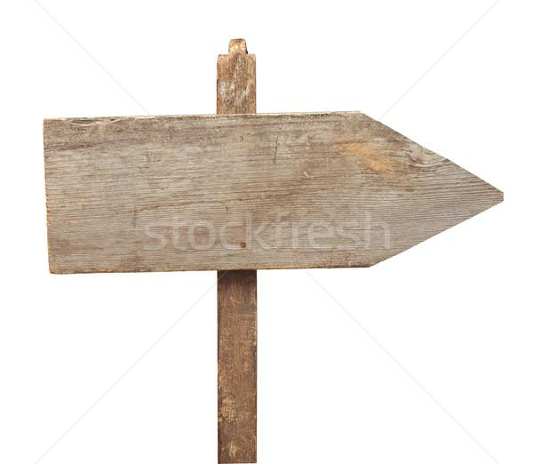 Stockfoto: Verkeersbord · geïsoleerd · witte · weg · hout · retro