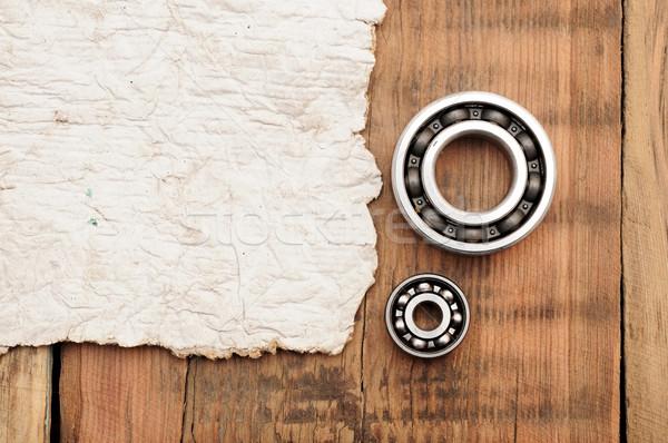 Stali piłka starego papieru drewniany stół przestrzeni yo Zdjęcia stock © inxti