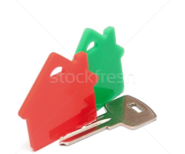 Stockfoto: Rood · groene · onroerend · huis · icon · geïsoleerd