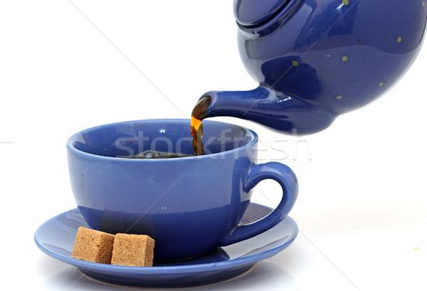 Theepot thee beker witte keuken Stockfoto © inxti