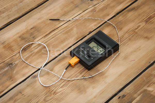 Digitale termometro tavolo in legno top tecnologia carne Foto d'archivio © inxti