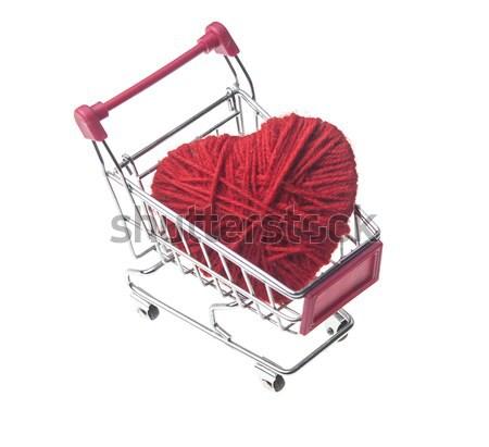 Közelkép bevásárlókocsi szív piros bolt klasszikus Stock fotó © inxti